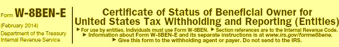 How to complete the new W-8BEN-E: Example