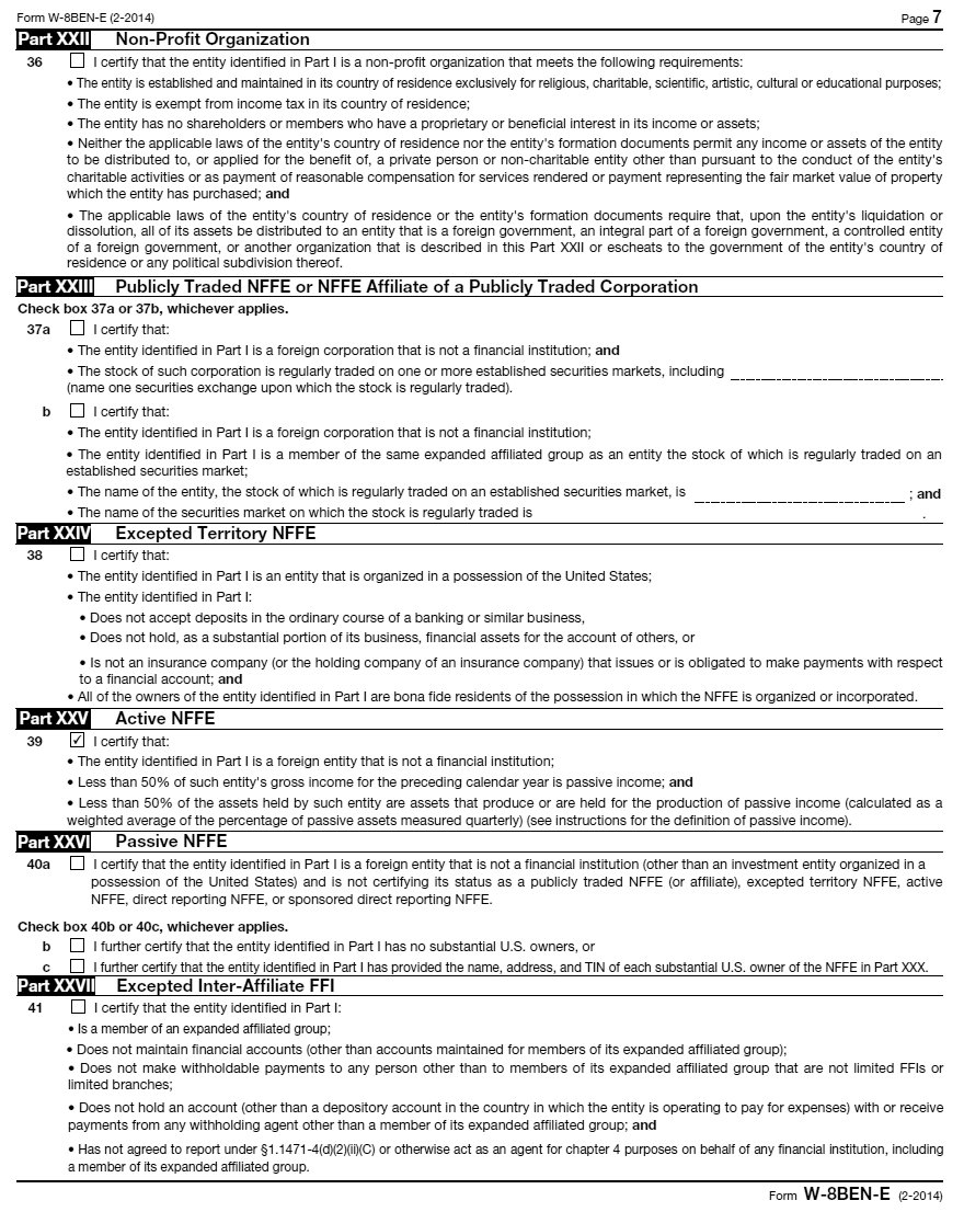 Filing of W-8BEN-E by Canadian Service Provider, with a sample